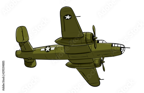 Papel de parede Airplane - coloured drawing illustration of old type aircraft of bomber type