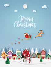 Origami Paper Art Of Santa Claus Coming To Town, Merry Christmas And Happy New Year