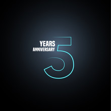 5 Years Anniversary Vector Logo, Icon. Graphic Design Element With Neon Number