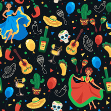 Cinco De Mayo Seamless Pattern - Mexican National Holiday Symbol Set Background