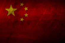 Flag Of China On Metal Rough Texture, Grunge Flag