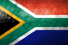 South African Flag On Metal Rough Texture, Grunge Flag