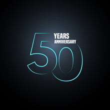 50 Years Anniversary Vector Logo, Icon. Graphic Design Element With Neon Number