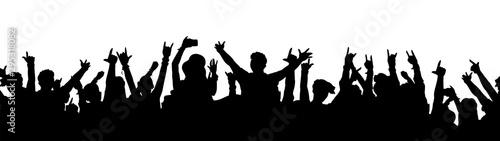 Fotografie, Tablou Black music fan crowd silhouette - cartoon people cheering at rock concert