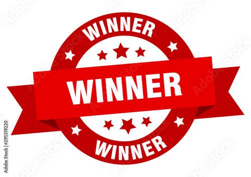 Valokuvatapetti winner ribbon. winner round red sign. winner