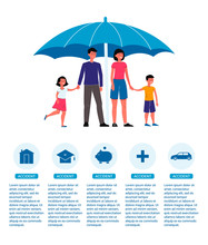Family Insurance Poster - Cartoon People With Children Standing Under Umbrella.