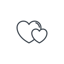 Two Love Hearts Icon Line Design
