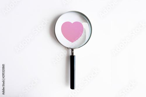 lente di ingrandimento, cuore, cardiologia, controllo, esame medico,