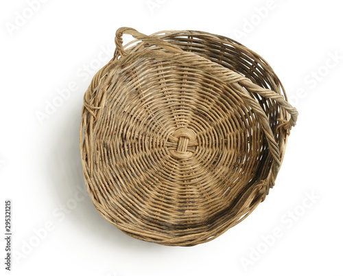 Wicker gift basket top view (with clipping path) isolated on white background Canvas Print