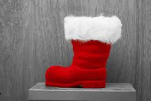 Red Santa Claus Boots During Christmas Season