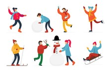 Cute People Having Fun And Doing Winter Activities Set Vector Illustration. Collection Consisting Of Person Making Snowman, Playing Snowballs, Sledding, Skating, Skiing. Happy Holidays Concept