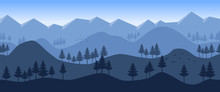 Seamless Horizontal Vector Flat Background. Minimalistic Concept. Pine Forest. Panorama. Mountain And Slopes. Template For Games Or Website. Blue Wallpaper With Fog. Misty Hills. Himalayan Mountains