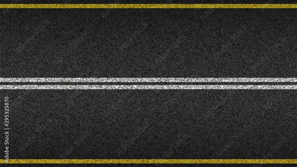 Fototapeta Asphalt highway textured vector background. Paved road with a dividing stripes