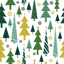 Seamless Christmas Tree Design With Green Color On White Background