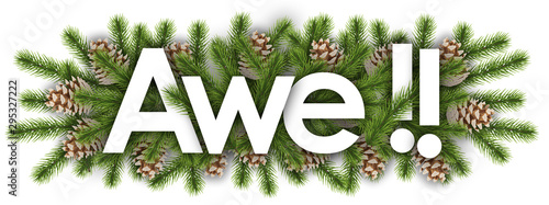 Tableau sur Toile Awe in christmas background - pine branchs