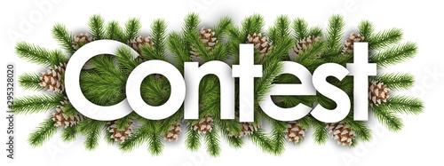 Pinturas sobre lienzo  contest in christmas background - pine branchs
