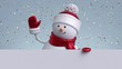 3d snowman waving hand, looking out the wall, holding blank banner. Gold confetti falling. Happy New Year. Merry Christmas animated greeting card, copy space. Winter holiday background. 1920x1080 hd