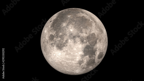Full moon. Black background.. Elements of this image furnished by NASA. - 295330292