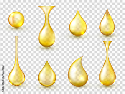 Obraz Oil drops realistic vector isolated illustrations collection - fototapety do salonu