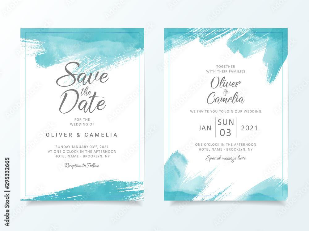 Fototapeta Blue brush stroke wedding invitation card template. Elegant abstract background save the date, invitation, greeting card, multi-purpose vector