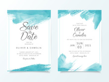 Blue Brush Stroke Wedding Invitation Card Template. Elegant Abstract Background Save The Date, Invitation, Greeting Card, Multi-purpose Vector