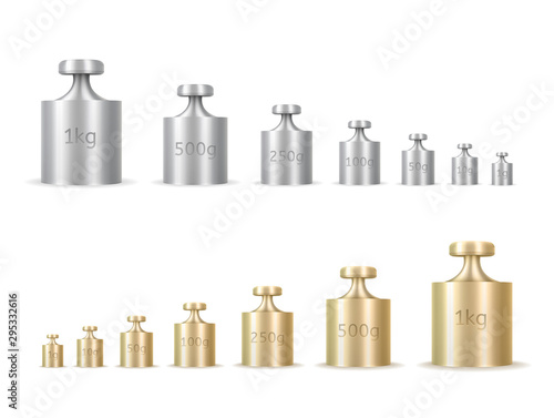 Obraz Calibration weights realistic isolated vector illustrations set - fototapety do salonu