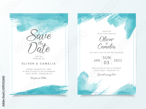 Cuadros en Lienzo Blue brush stroke wedding invitation card template
