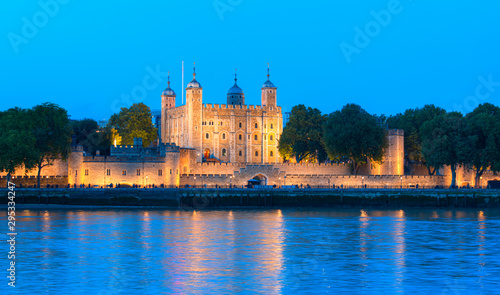 Tower of London at twilight blue hour  - London, United Kingdom Canvas