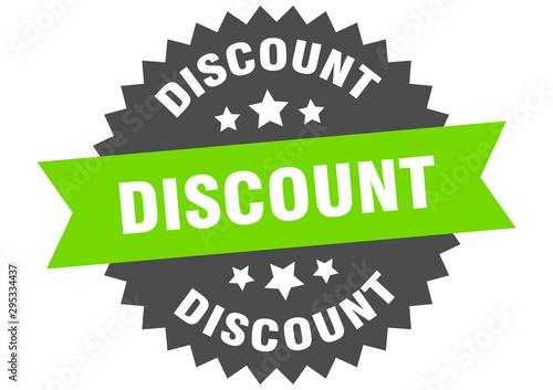 Fotografía  discount sign. discount green-black circular band label