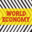 canvas print picture - Word writing text World Economy. Business photo showcasing Global Worldwide International markets trade money exchange Seamless Vertical Black Lines on White Surface in Mirror Image Reflection