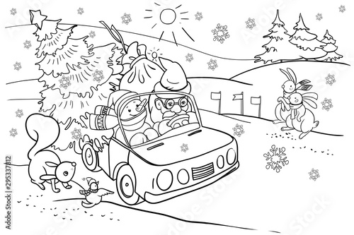 Coloring book for children, New Year and Christmas holidays, Santa Claus car in a hurry for the holiday, cartoon characters, animals, Christmas tree, vector clip art
