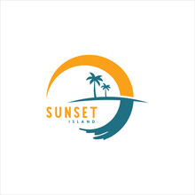 Simple Illustration Of Palm Tree And Sunset For Logo Design Inspiration