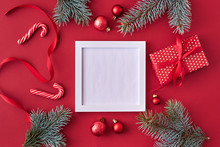 Mockup Square White Frame With...