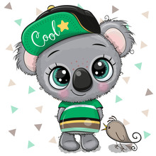 Cartoon Baby Koala In A Cap Wi...