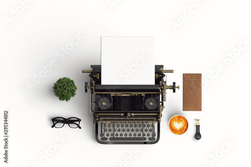 Fotografiet vintage typewriter paper and cup of coffee latte art on the color background