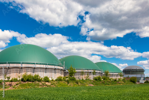 Photo Biogas plant in rural Germany Biofuel Industry concept