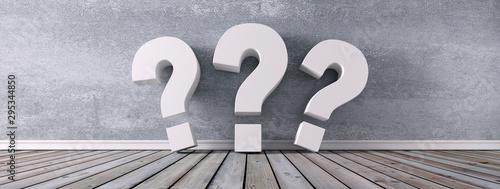 Fotomural  3 weiße Fragezeichen vor Steinwand