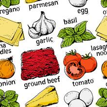 Lasagna Ingredients Vector Sea...