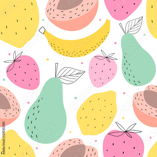 Hand drawn fruits seamless pattern for print, textile, wallpaper. Kids decorative fruits background. - 295353081