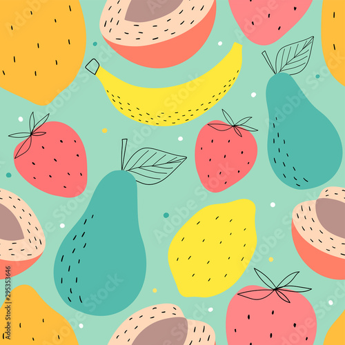 Hand drawn fruits seamless pattern for print, textile, wallpaper. Kids decorative fruits background. - 295353646