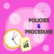 canvas print picture - Writing note showing Policies And Procedure. Business concept for list of rules defines customer and buyer rights Layout Wall Clock Notepad with Escalating Bar Graph Arrow