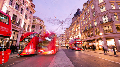 Canvas Prints London red bus Shopping at Oxford street, London, Christmas day