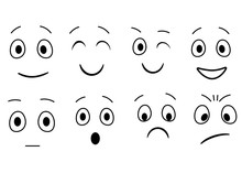 Simple Cartoon Emotions, Faces...