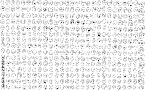Big faces doodle drawings vector illustration set