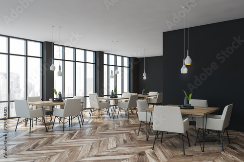 Gray stylish cafe corner with armchairs