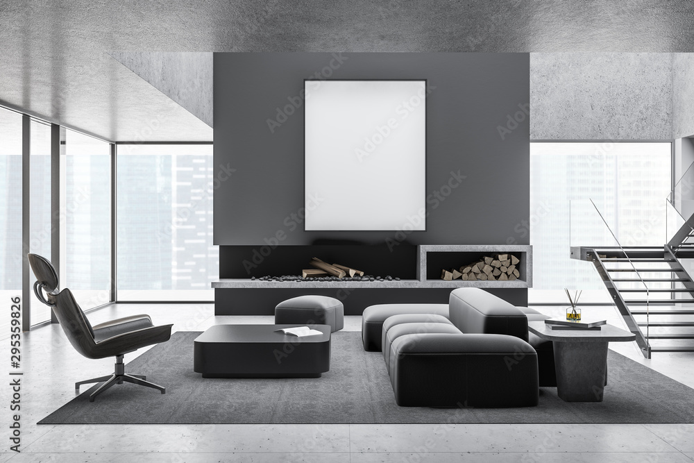 Fototapeta Gray living room interior, fireplace and poster