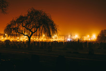 Toxteth Park Cemetery In The Night, Foggy Night Graveyard In Liverpool, UK