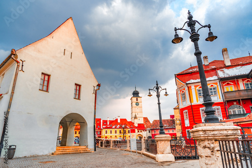 Photo Sibiu, Romania - Lesser Square and Council Tower ,Transylvanian saxon city