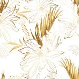 Tropikalne egzotyczne kwieciste złote liście palmowe i kwiaty magnolii wzór, białe tło. Tapeta egzotycznej dżungli. - 295367433