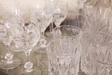 Empty Crystal Glass Table Background